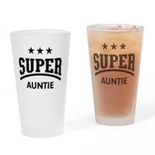 Super Auntie (Black) Drinking Glass