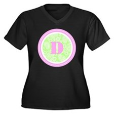 Lime Paisley Women's Plus Size Dark V-Neck T-Shirt