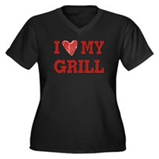 I love my Grill Women's Plus Size V-Neck Dark T-Sh