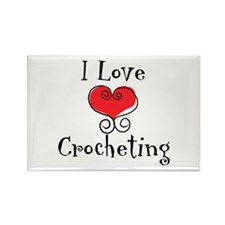 I Love (heart) Crocheting Rectangle Magnet