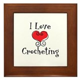 I Love (heart) Crocheting Framed Tile