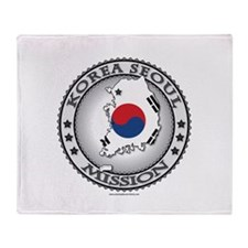 Korea Seoul LDS Mission Flag Cutout Map Throw Blan