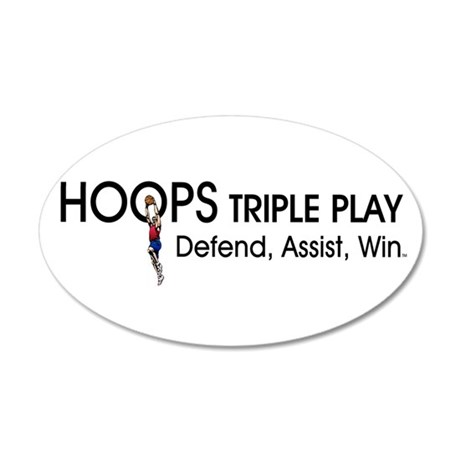 TOP Hoops Triple Play 20x12 Oval Wall Decal