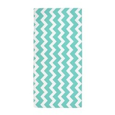Aqua White Chevron Pattern Beach Towel