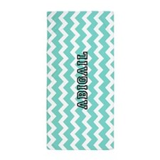 Aqua Chevron Custom Name Beach Towel