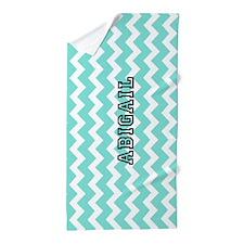 Aqua Chevron Custom Name Beach Towel
