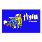 Snowboarding Flyin' Rectangle Decal