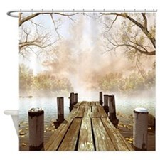Autumn Wooden Pier Shower Curtain