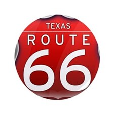 "Texas Route 66 - Red 3.5"" Button"