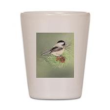 Watercolor Chickadee Bird in pine tree Shot Glass
