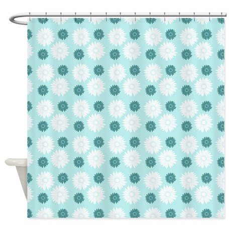 Chic Teal And White Flowers Shower Curtain By Zenchic