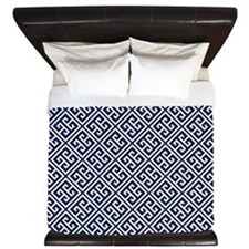 Navy Blue Greek Key Pattern King Duvet