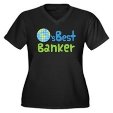 Earths Best Banker Women's Plus Size V-Neck Dark T