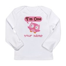 Cute Personalized 1st Birthday Owl Long Sleeve T-S
