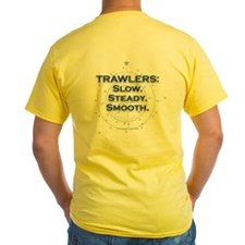 Slow, steady, smooth yellow trawler T-shirt