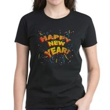 Confetti New Years Eve Women's Black T-Shirt