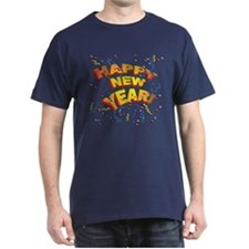 Confetti New Years Eve Navy Blue T-Shirt