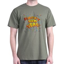Confetti New Years Eve Green T-Shirt