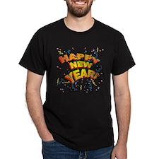 Confetti New Years Eve Black T-Shirt
