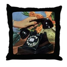 Vintage Rotary Telephone Throw Pillow