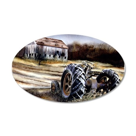 Old Tractor 35x21 Oval Wall Decal