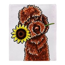 Sunny Chocolate Labrodoodle Throw Blanket
