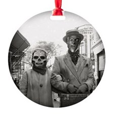 Black and White Freaky Vintage Couple Ornament