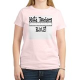 Math Teachers Rule! Funny Women's Pink T-Shirt