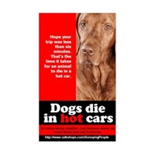 Dogs die in hot cars warning sticker