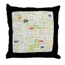 Monsters Attack City Throw Pillow
