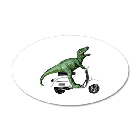 T-Rex Rides Scooter 35x21 Oval Wall Decal