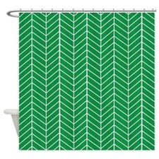 Green Herringbone Shower Curtain