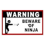 Beware of Ninja Sticker (Rectangular)