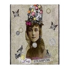 Lady Steampunk Throw Blanket