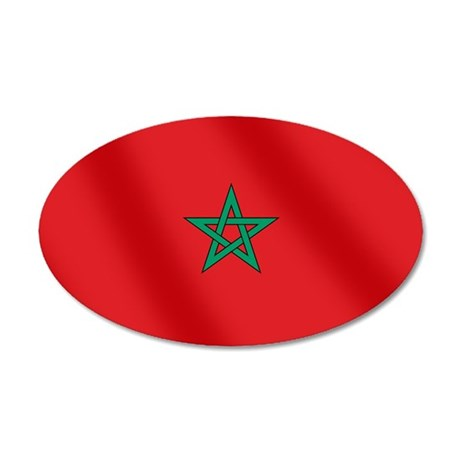 Flag of Morocco 35x21 Oval Wall Decal