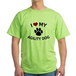 I Love My Agility Dog Green T-Shirt