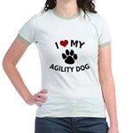 I Love My Agility Dog Jr. Ringer T-Shirt