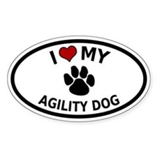 I Love My Agility Dog Oval Decal