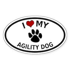 I Love My Agility Dog Oval Decal