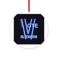 Bill Richardson Neon Vote Ornament (Round)