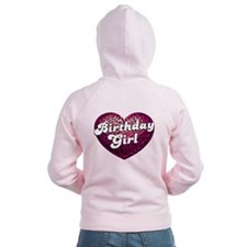 Birthday Girl Leopard Heart Zip Hoodie