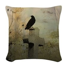 Gothic Perch Woven Throw Pillow