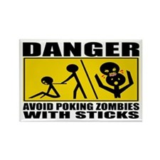 Zombie Warning Rectangle Magnet