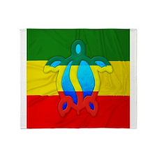 Rasta Flag Honu Throw Blanket