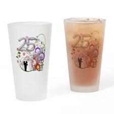 25th Silver Anniversary Drinking Glass