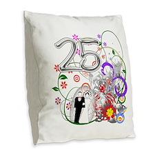 25th Silver Anniversary Burlap Throw Pillow