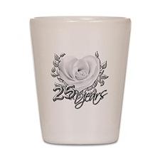 Silver Anniversary Rose Shot Glass