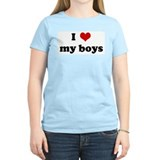 I Love my boys Women's Pink T-Shirt