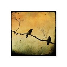 "Two Crows On A Branch Square Sticker 3"" x 3"""