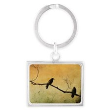Two Crows On A Branch Landscape Keychain